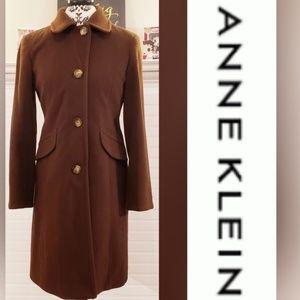 Anne Klein Brown Lambs Wool Cashmere Pea Coat